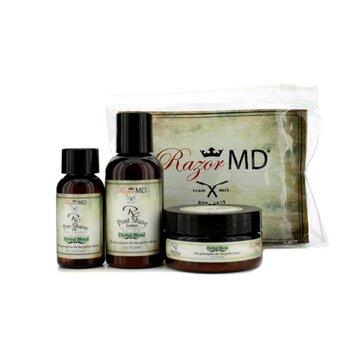 Razor MD ชุดครีมโกนหนวด Shave Trio (Herbal Blend): โลชั่นหลังการโกน 60ml + น้ำมันก่อนการโกน 30ml + ครีมโกนหนวด 60ml  3pcs
