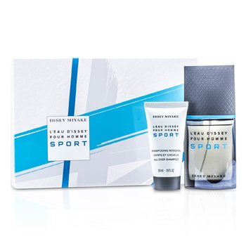 Issey Miyake L'Eau d'Issey Pour Homme Sport Coffret: Edt Spray 50ml/1.6oz + All Over Shampoo 50ml/1.6oz + Bag  2pcs+Bag