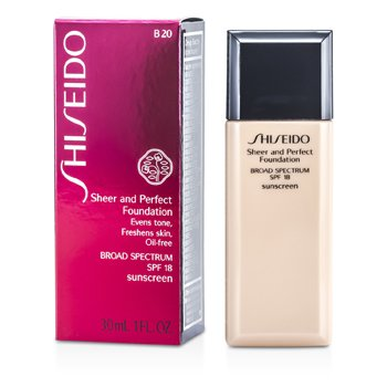 Shiseido Sheer & Perfect Foundation SPF 18 - # B20 Natural Light Beige  30ml/1oz
