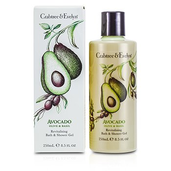Crabtree & Evelyn Avocado, Olive & Basil Revitalising Bath & Shower Gel - Gel Mandi  250ml/8.5oz