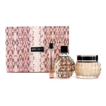 Jimmy Choo Kit Jimmy Choo: Eau De Parfum Spray 100ml/3.3oz + Creme Brilhoso Para Corpo 150ml/5oz + Eau De Parfum Roll On 10ml/0.33oz  3pcs