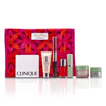Clinique Travel Set: Moisture Surge + CC Cream + Eye Cream + Makeup Palette + Mascara & Lipgloss + Lipstick #15 + Nail Polish + Bolsa  7pcs+1bag