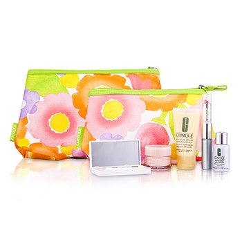 Clinique Travel Set: DDML+ + Moisture Surge + Laser Focus + Eye Shadow Quad #05, 2A, 07 Duo + Mascara & Lipstick #62 + 2xBag  5pcs+2bags