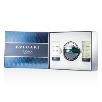 Bvlgari Kit Aqva Pour Homme: Eau De Toilette Spray 100ml/3.4oz + Gel Para Banho 75ml/2.5oz + Loção Pós Barba 75ml/2.5oz  3pcs