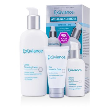 Exuviance AntiAging Solutions Kit (Sensitive/ Dry): Gentle Cleansing Creme + Age Less Everday + Ultra Restorative Creme  3pcs