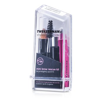Tweezerman Mini Brow Rescue Kit: Slant Tweezer + Browmousse + Brow Brush + Eyenhance Brow Highlighter (Studio Collection)  4pcs+1case