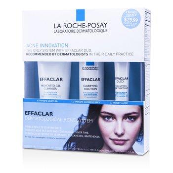 La Roche Posay Effaclar Dermatological Acne System: Gel Cleanser 100ml + Clarifying Solution 100ml + Acne Treament 20ml  3pcs
