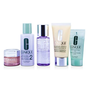 Clinique Set Exclusivo: DDLM Plus 50ml + All About Eyes 15ml + Jabón Líquido 30ml + Loción Aclarante #2 60ml + Removedor de Maquillaje 50ml  5pcs