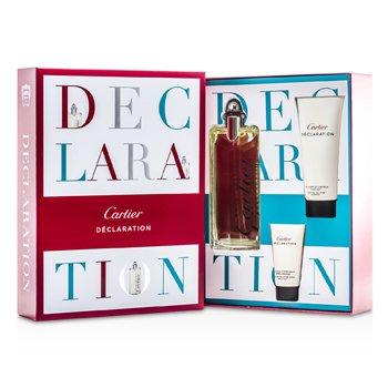 Cartier Declaration Kazeta: toaletná voda s rozprašovačom 100ml/3.3oz + šampón na vlasy a telo 100ml/3.3oz + After Shave Emulsion 30ml/1oz  3pcs