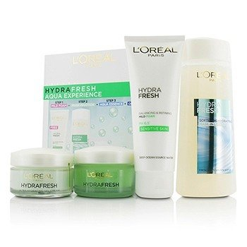 L'Oreal ست آبرسان Hydrafresh: ماسک-لوسیون 200میلی لیتر + ژل شوینده 100میلی لیتر + سرم آبرسان 530میلی لیتر + ژل-کرم 50میلی لیتر  4pcs