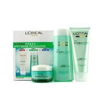 L'Oreal Hydrafresh Anti-Shine Programme: T�nico Helado 200ml + Espuma 100ml + Gel Helado 50ml  3pcs