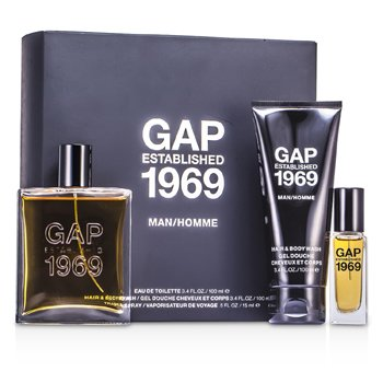 Gap Kit Established 1969 Man: Eau De Toilette Spray 100ml/3.4oz + Travel Spray 15ml/0.5oz + Sabonete Liquido 100ml/3.4oz  3pcs