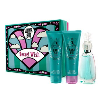 Anna Sui Secret Wish Coffret: Eau De Toilette Spray 50ml/1.7oz + Loci�n Corporal 90ml/3oz + Gel de Ducha 90ml/3oz  3pcs