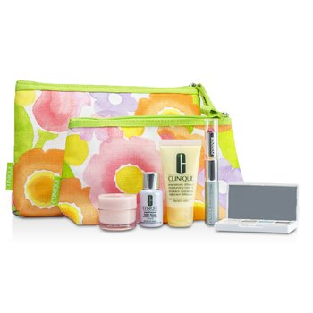 Clinique Travel Set: DDML+ + Moisture Surge + Laser Focus + Eye Shadow Quad #03, 20, 23, 38 + Mascara & Lipstick #43 + 2xBag  5pcs+2bags