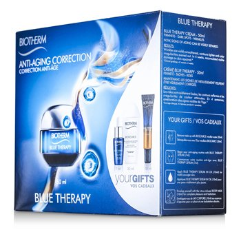 Biotherm Blue Therapy Set: Cream 50ml + Cleansing Water 30ml + Serum 7ml + Serum In Oil 10ml + Body Milk 10ml  5pcs