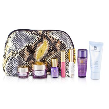 Estée Lauder Kit de Viagem: Tônico de Limpeza 30ml + Optimizer 30ml + Creme Para Colo 15ml + Serum 7ml + Creme Para Colo 5ml + Rímel #01 + Gloss #26 + Necessaire  7pcs+1bag