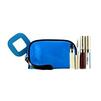 カネボウ リップグロスセット With ブルーコスメバッグ(3xモードグロス, 1xコスメバッグ)  3品入り+1バッグ