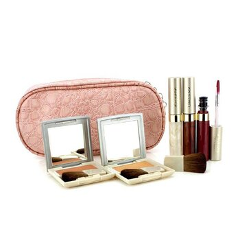 Kanebo Set de Maquillaje de Mejillas & Labios con Bolsa Cosmética Rosa (2x Colores de Mejillas, 3x Brillos de Labios, 1x Brocha, 1x Bolsa Cosmética)  6pcs+1bag