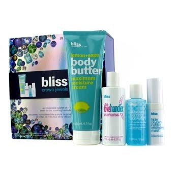 Bliss Crown Jewels Set: Body Butter 200ml + Love Handler 118ml + Triple Oxygen Instant Energizing Mask - Masker 15ml + Face Wash-Pembersih 60ml  4pcs