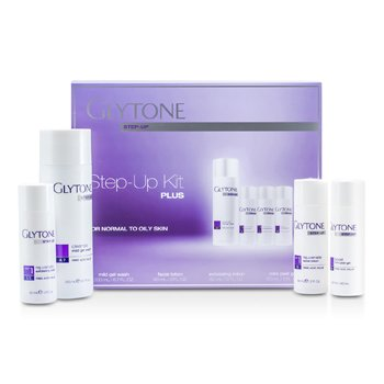 Glytone Step-Up Kit Plus (For Normal to Oily Skin): Gel Wash 200ml + Facial Lotion 60ml + Exfoliating Lotion 60ml + Peel Gel 60ml  4pcs