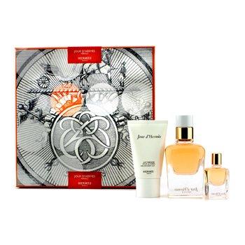 Hermes Jour D'Hermes Absolu Coffret: Eau De Parfum Refillable Spray 50ml/1.6oz + Eau De Parfum Miniature 7.5ml/0.25oz + Body Lotion 30ml/1oz  3pcs