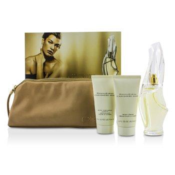 DKNY Cashmere Mist Coffret: Eau De Parfum Spray 100ml/3.4oz + Loci�n Limpiadora Corporal 75ml/2.5oz + Crema Corporal 75ml/2.5oz + Bag  3pcs+bag