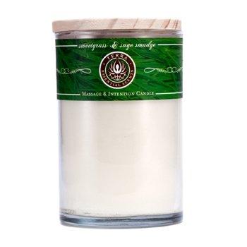 Terra Essential Scents Vela Para Massagem & Intention - Sweetgrass & Sage Smudge  12oz