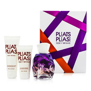 Issey Miyake Pleats Please Coffret: EDP Spray 100ml/3.3oz + Body Lotion 75ml/2.5oz + Shower Gel 50ml/1.6oz  3pcs