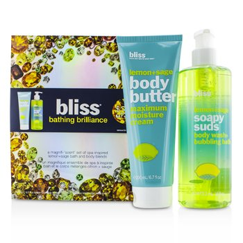 Bliss Set Bathing Brilliance: Lemon+Sage Jab�n 473.2ml/16oz + Manteca Corporal 200ml/6.7oz  2pcs