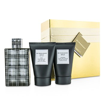 Burberry Brit Coffret: Eau De Toilette Spray 100ml/3.3oz + Gel Limpiador Corporal 100ml/3.3oz + Bálsamo para Después de Afeitar 100ml/3.3oz (Caja Dorada)  3pcs