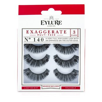 Eylure Exaggerate False Lashes Multipack - 140 Black - ריסים מלאכותיים (כולל דבק)  3pairs