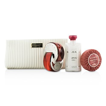 Bvlgari Omnia Coral Coffret: Eau De Toilette Spray 65ml/2.2oz + Soap 75g/2.6oz + Loción Corporal 75ml/2.5oz + Bolsa  3pcs+pouch