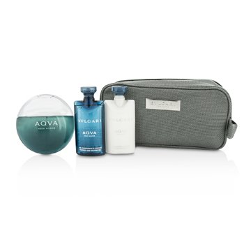 Bvlgari Aqva Pour Homme Coffret: Eau De Toilette Spray 100ml/3.4oz + Champ� & Gel Ducha 75ml/2.5oz + B�lsamo para Depu�s de Afeitar 75ml/2.5oz + Bolsa  3pcs+1pouch