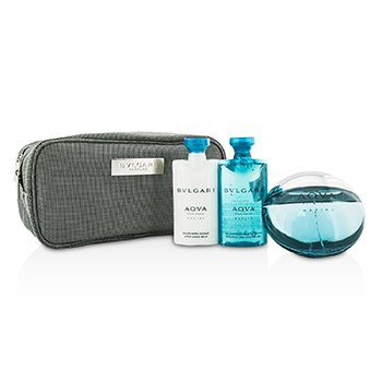 Bvlgari Aqva Pour Homme Marine Kofre: EDT Sprey 100ml/3.4oz + Duş Jeli 75ml/2.5oz + After Shave Balsam 75ml/2.5oz + Kese  3pcs+1pouch