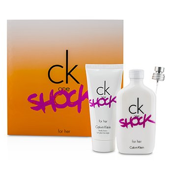 Calvin Klein CK One Shock For Her Coffret: Eau De Toilette Spray 100ml/3.4oz + Loción Corporal 100ml/3.4oz  2pcs