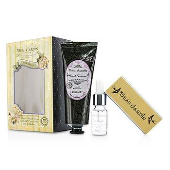 Heathcote & Ivory Beau Jardin Lavender & Jasmine Set Manicura: Crema Manos 100ml/3.38oz + Aceite para Cutículas 10ml/0.33oz + Alisador Uñas  3pcs