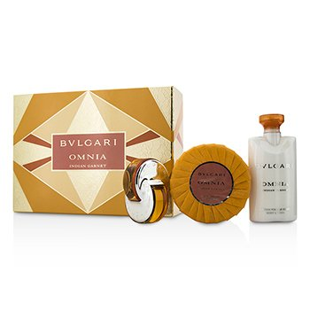 Bvlgari Omnia Indian Garnet szett: Eau De Toilette spray 15ml/0.5oz + illatosított szappan 150g/5.3oz + testápoló lotion 75ml/2.5oz  3pcs
