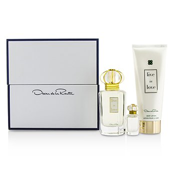 Oscar De La Renta Live In Love Coffret: Eau De Parfum Spray 50ml/1.7oz + Eau De Parfum Miniatura 4ml/0.13oz + Loción Corporal 100ml/3.4oz  3pcs