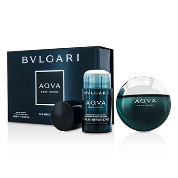 Bvlgari Aqva Pour Homme Coffret: Eau De Toilette Spray 50ml/1.7oz + Deodorant Stick 75ml/2.7oz  2pcs