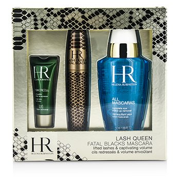 Helena Rubinstein Lash Queen Fatal Blacks Set Máscara: Máscara 7.2ml/0.24oz + Demaquillante 50ml/1.69oz + Powercell 3ml/0.15oz  3pcs