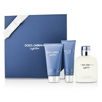 Dolce & Gabbana Homme Light Blue Coffret: EDT Spray 125ml/4.2oz + B�lsamo para Despu�s de Afeitar 75ml/2.5oz + Gel de Ducha 50ml/1.6o  3pcs