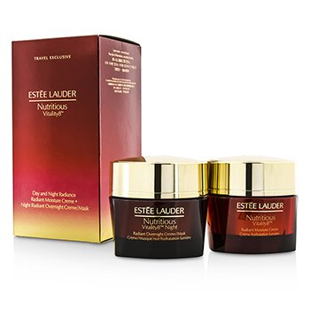 Estee Lauder Nutritious Vitality8 Day & Night Radiance: Crema Humectante 50ml + Crema Noche/Mascarilla 50ml  2x50ml/1.7oz