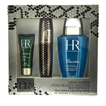 Helena Rubinstein Lash Queen Fatal Blacks Set M�scara A Prueba de Agua: M�scara 7.2ml/0.24oz + Demaquillante 50ml/1.69oz + Powercell 3ml/0.15oz  3pcs