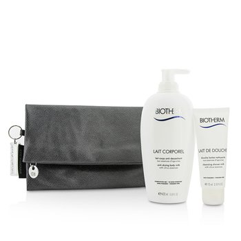 Biotherm Body Care X Mandarina Duck Coffret: Anti-Drying Body Milk 400ml + Cleansing Shower Milk 75ml + Clutch Bag  2pcs+1bag