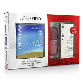 Shiseido UV Protective Powder Coffret: 1xUltimune Concentrado, 1xBio Performance Crema Ojos, 1x Base Compacta - #SP70  3pcs
