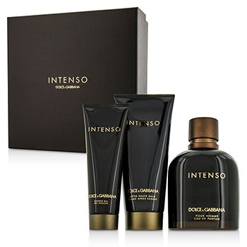 Dolce & Gabbana Intenso Coffret: Eau De Parfum Spray 125ml/4.2oz + B�lsamo para Despu�s de Afeitar 75ml/2.5oz + Gel de Ducha 50ml/1.6oz  3pcs