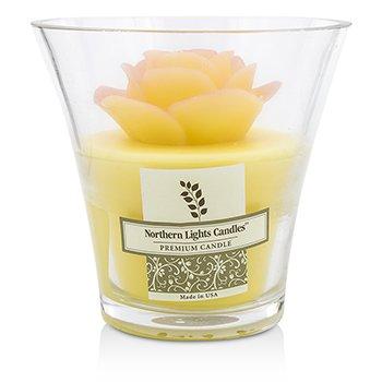 Northern Lights Candles Floral Lumânare Vază Premium - Yelliow Rose  5 inch