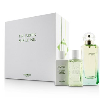 Hermes Un Jardin Sur Le Nil Coffret: Eau De Toilette Spray 100ml/3.3oz + Loción Corporal 40ml/1.35oz + Gel de Ducha 40ml/1.35oz  3pcs
