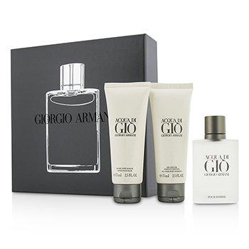 Giorgio Armani Acqua Di Gio Coffret: Eau De Toilette Spray 50ml/1.7oz + Champú Total 75ml/2.5oz + Bálsamo para Después de Afeitar 75ml/2.5oz  3pcs
