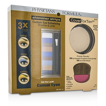Physicians Formula Zestaw Makeup Set 8658: 1x Shimmer Strips Eye Enhancing Shadow, 1x CoverToxTen50 Face Powder, 1x Applicator  3pcs